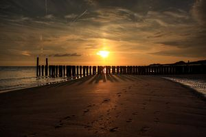 Zonsondergang strand Zoutelande van