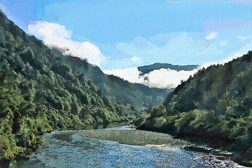 Landschap - Nieuw-Zeeland - Wairau Rivier - Schilderij van Schildersatelier van der Ven