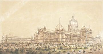 Joseph Reed, The Exhibition Building Melbourne 1880, het zuidwesten van de Grote Zaal - 1879 van Atelier Liesjes