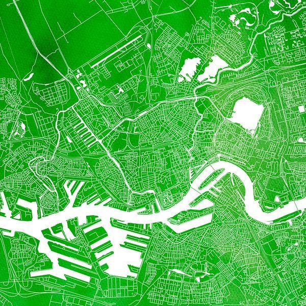 Rotterdam | Stadskaart Groen | Vierkant van - Wereldkaarten.shop -