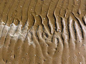 Watersporen op het strand. van Angelique Roelofs
