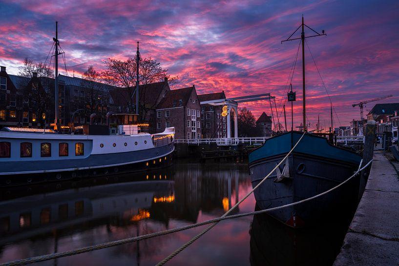 Zonsondergang Zwolle van Rick Kloekke