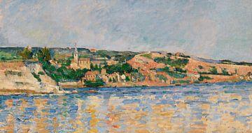 Dorp aan het water , Paul Cézanne (ca. 1876) van Atelier Liesjes