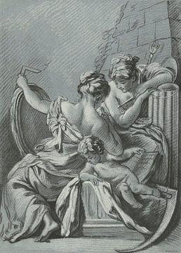 Louis-Marin Bonnet, De Wijsheid en de Rechtvaardigheid, 1771 - 1772 van Atelier Liesjes