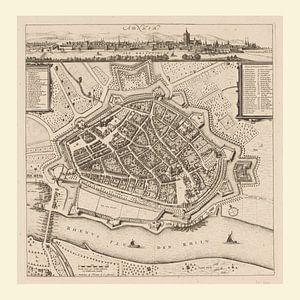 Karte von Arnheim mit weißem Rahmen, anno ca 1660
