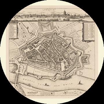 Plattegrond van Arnhem met wit kader, anno ca 1660 van Gert Hilbink