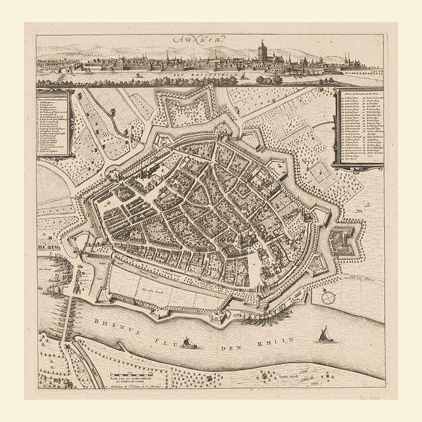 Karte von Arnheim mit weißem Rahmen, anno ca 1660 von Gert Hilbink