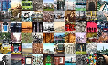 Alles aus Dublin - Collage aus typischen Bildern der Stadt und der Geschichte von Roger VDB