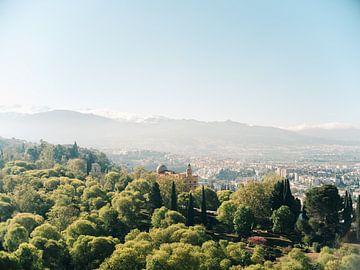 Uitzicht op de besneeuwde bergen van Sierra Nevada vanaf het Alhambra in Granada, Spanje. van Raisa Zwart