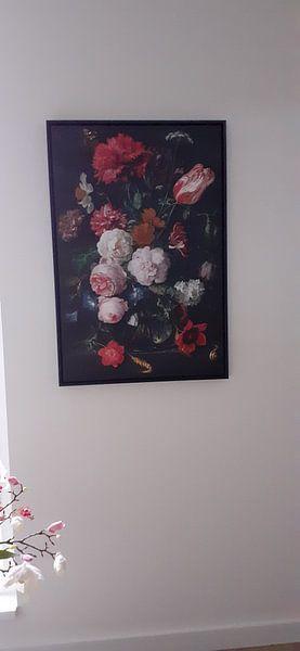 Kundenfoto: Blumenstrauß in einer Glasvase, auf leinwand