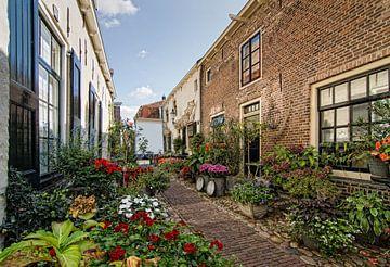 Straße, gesäumt von Blumen in Elburg (Niederlande) von Hans Brinkel