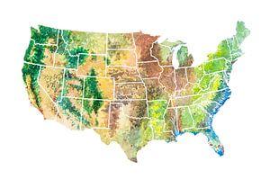 USA Landkaart in Aquarel