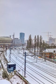 Treinrails bedekt in sneeuw van Jasper Scheffers
