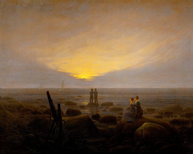 Caspar David Friedrich - Moonrise over the sea van 1000 Schilderijen