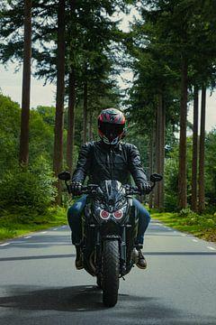 Motorradfahrer auf einer Landstraße