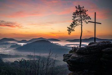 Nacht, dageraad, voor zonsopgang, landschap van Fotos by Jan Wehnert