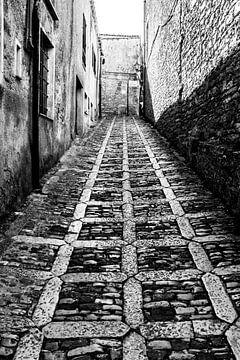 Die Straße von Palermo in Schwarz-Weiß von Leontien van der Willik-de Jonge