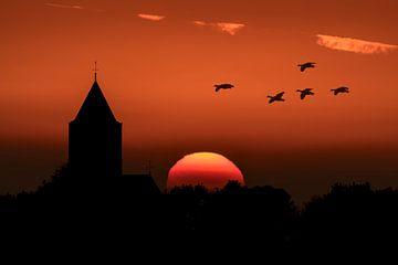Zonsondergang bij Zalk. von