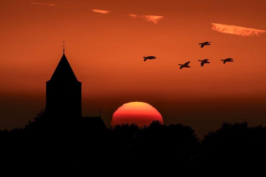 Zonsondergang bij Zalk. van Erik Veldkamp