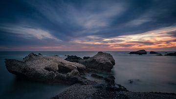 zonsondergang aan Griekse oostkust van Michel Seelen
