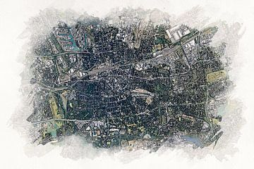 Karte von Dortmund von Aquarel Creative Design