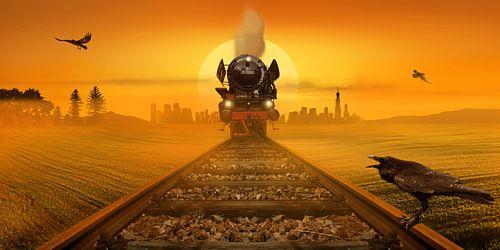 Dampflokomotive im Abendlicht von