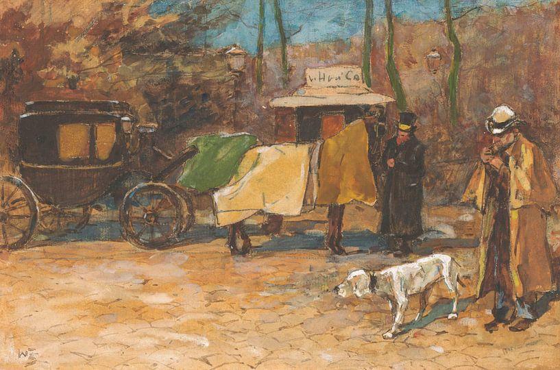 Willem de Zwart, der in einem Park auf eine Kutsche wartet von Meesterlijcke Meesters