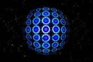 Blauwe cirkels in een caleidoscoop