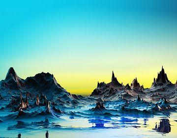 Un paysage bleuâtre froid van
