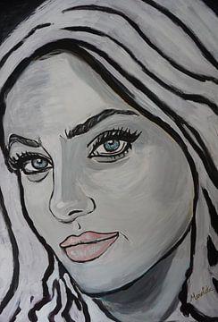 Gesicht der Frau - schwarz-weiße Malerei - blaue Augen von Marielistic-Art