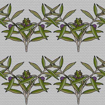 GRAFISCHE PRINT OLIJF 2 van Marijke Mulder
