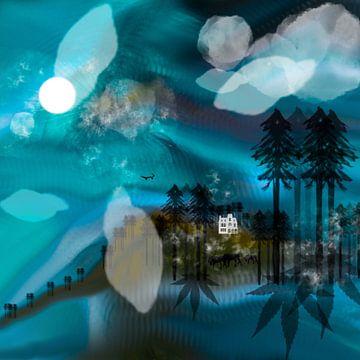 Landschap blauw met wit,huis van Raina Versluis