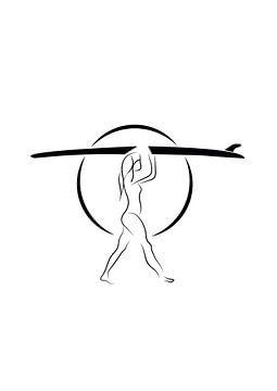 Poster meisje met surfplank - surfster - zwart wit van Studio Tosca