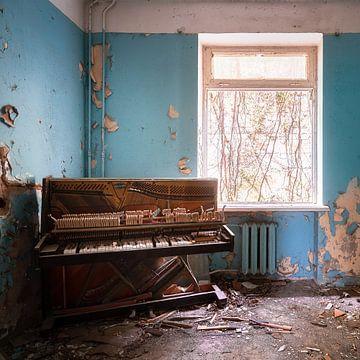 Piano abandonné dans la salle. sur Roman Robroek