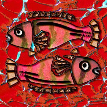 Digitaal werk met 2 vissen van Ton Kuijpers