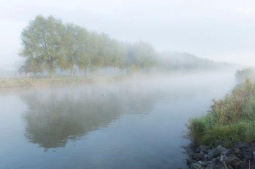 Een mistige ochtend langs de Leie in Kortrijk, Belgie