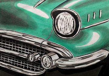 Close-up van een oldtimer auto van Lonneke Kolkman