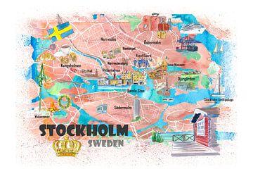 Geïllustreerde kaart van Stockholm Zweden met de belangrijkste straten, bezienswaardigheden en hoogt van Markus Bleichner