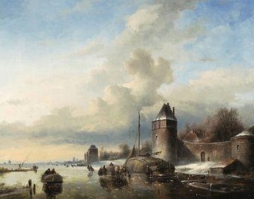 Paysage d'une rivière gelée à l'entrée d'une ville, Andreas Schelfhout sur