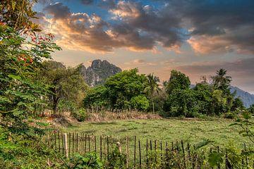 Landschap Laos van Karen Klein