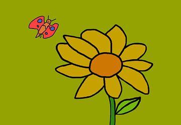 Bloem en vlinder van Leo Huijzer