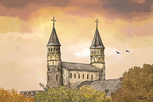 Artwork: Maastricht, Onze Lieve Vrouweplein, Onze-Lieve-Vrouwebasiliek