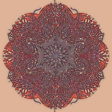 Kaleidoscopische mandala, rood van Rietje Bulthuis