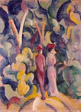 August Macke, Ehepaar auf dem Waldweg - 1913 von Atelier Liesjes