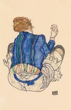 Zittende vrouw, achteraanzicht, Egon Schiele - 1917
