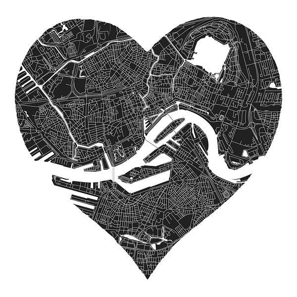 Rotterdam Noord en Zuid | Stadskaart in een zwart hart van Wereldkaarten.Shop