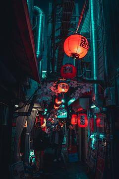 Lampionen in een straat in Shinjuku van Mickéle Godderis
