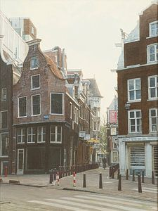 Schilderij: Nieuwezijds Voorburgwal, Amsterdam