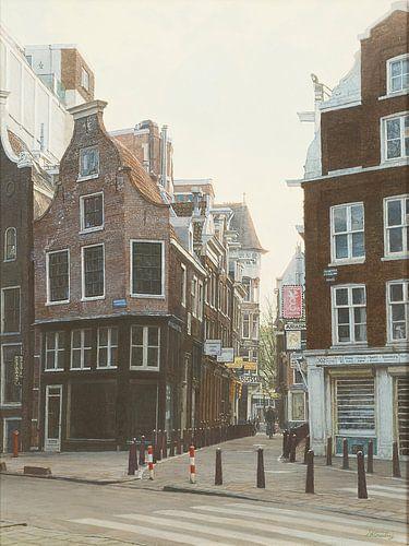 Schilderij: Nieuwezijds Voorburgwal, Amsterdam van