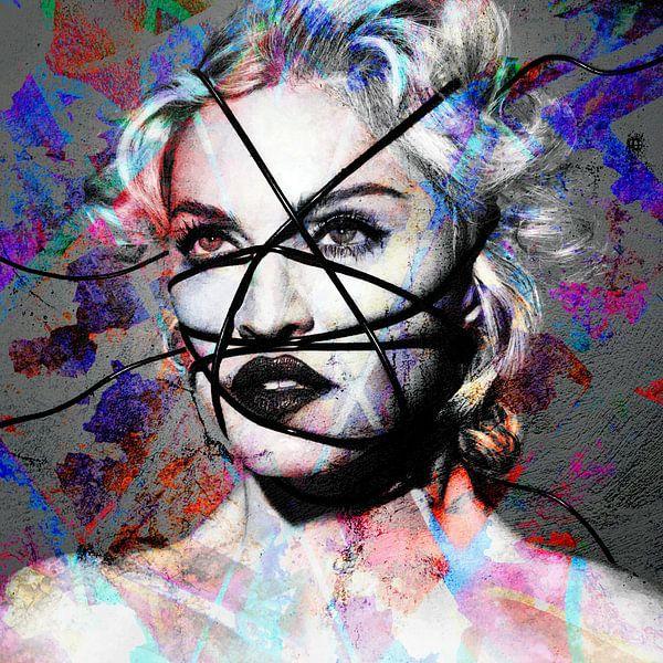 Madonna - Rebellenherz Abstraktes Porträt in Rot, Blau, Violett von Art By Dominic